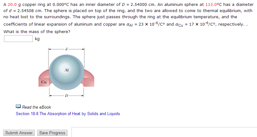 A 20.0 g copper ring at 0.000 degree C has an inne