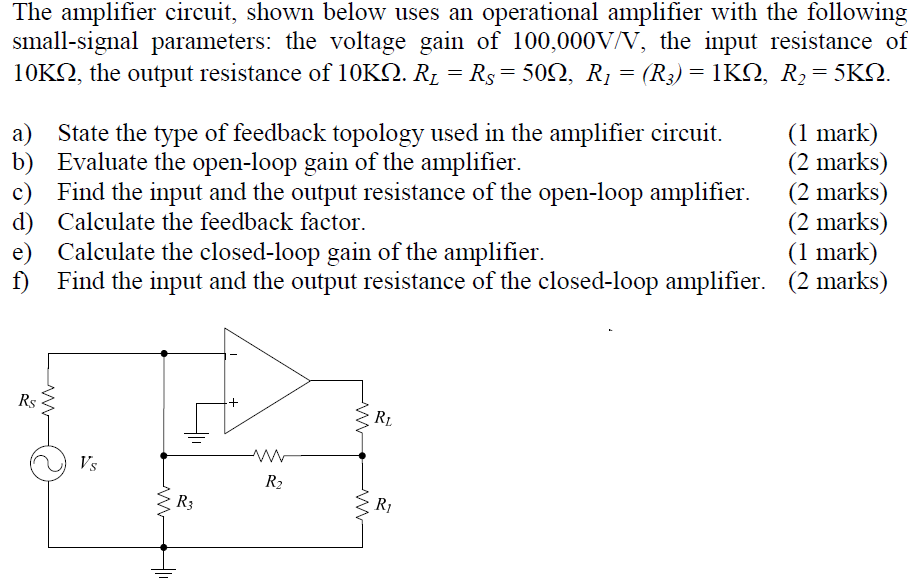 The amplifier circuit, shown below uses an operati