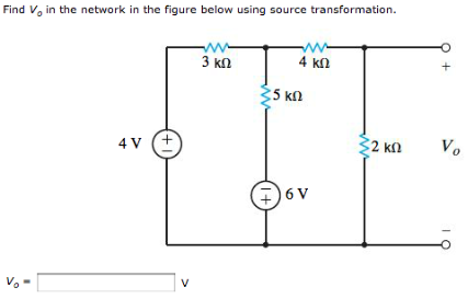 Find V0 in the network in the Figure below using s