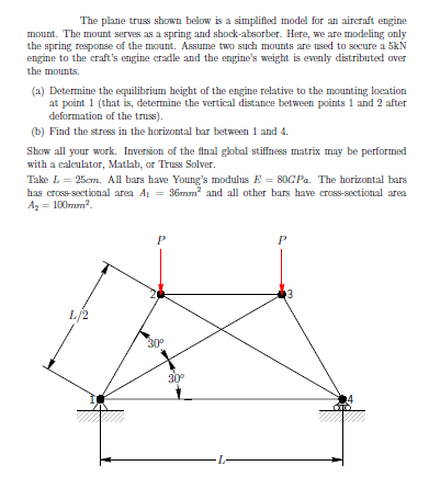Question: The piano truss shown below is a simplified mode] for an aircraft engine mount. Tho mount serves ...