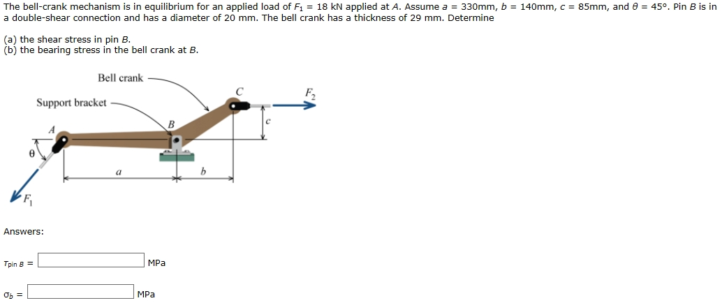 Bell Crank Linkage : Solved the bell crank mechanism is in equilibrium for an