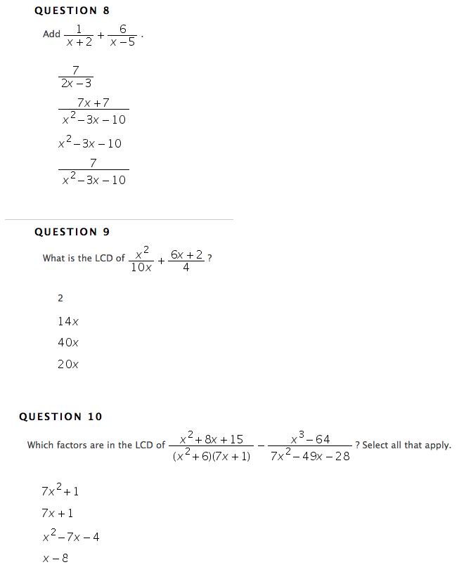 Solved: Add 1/x+2 + 6/x-5. 7/2x-3 7x+7/x2-3x-10 X2-3x-10 7 ...