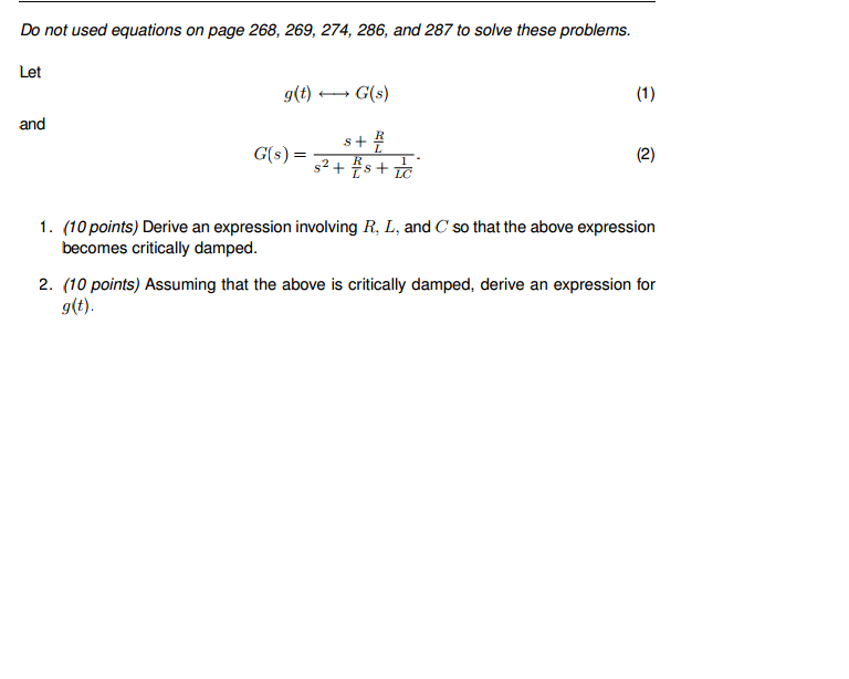 Do not used equations on page 268, 269, 274, 286,