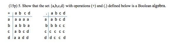 Show that the set {a,b,c,d} with operations (+) an