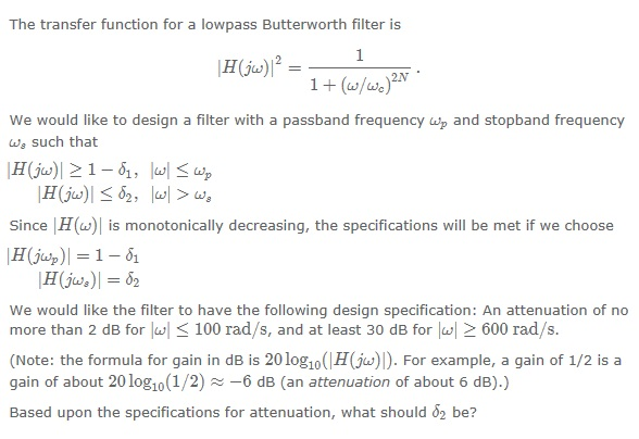 The transfer function for a lowpass Butterworth fi