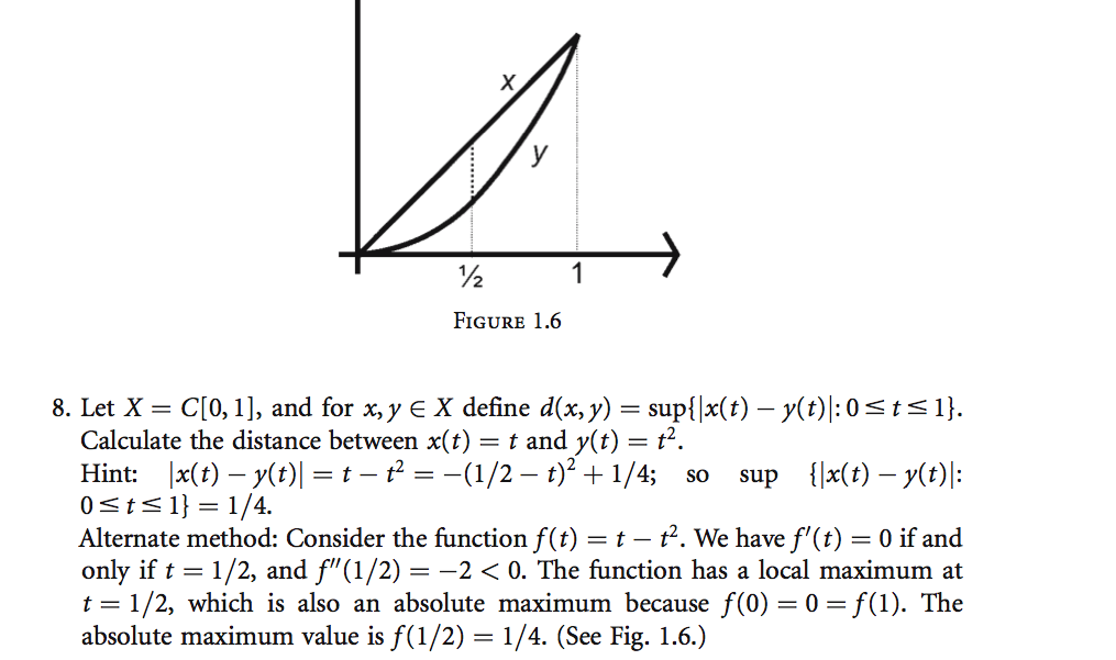 Figure 1.6 Let X = C[0,1], and for x,y X defin