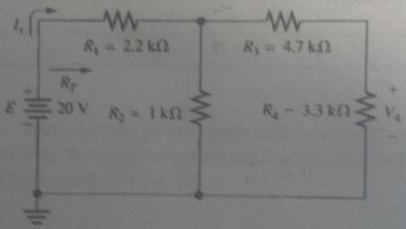 Based on the circuit what is V_4, I_s, and R_T