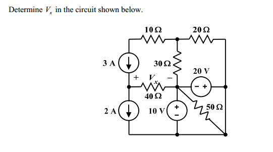 Determine Vx in the circuit shown below.