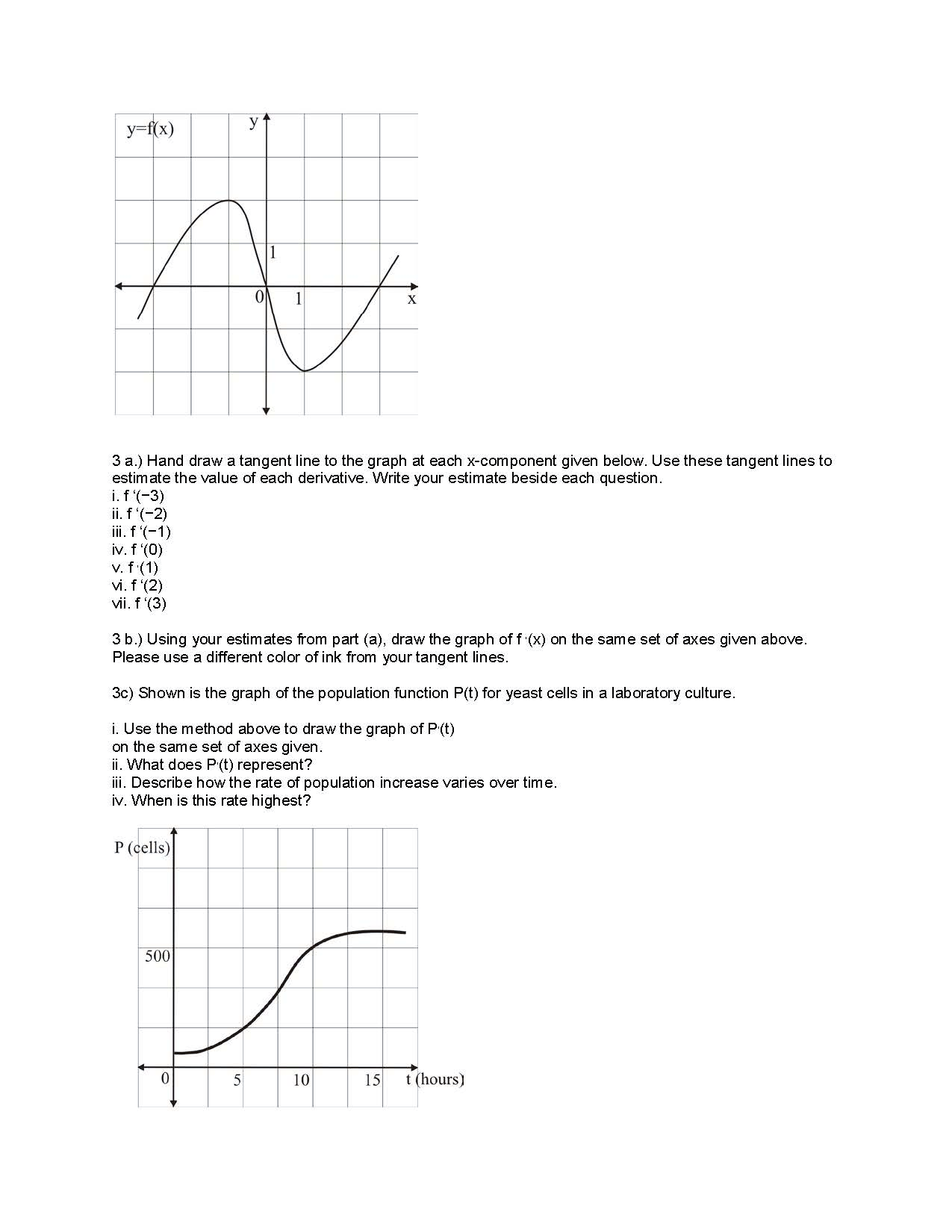 Drawing Line Graph Questions : Hand draw a tangent line to the graph at each co