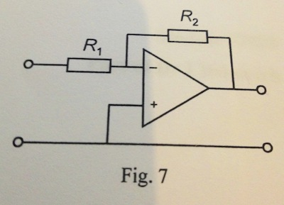 14. An inverting amplifier shown in Fig. 7 is conn