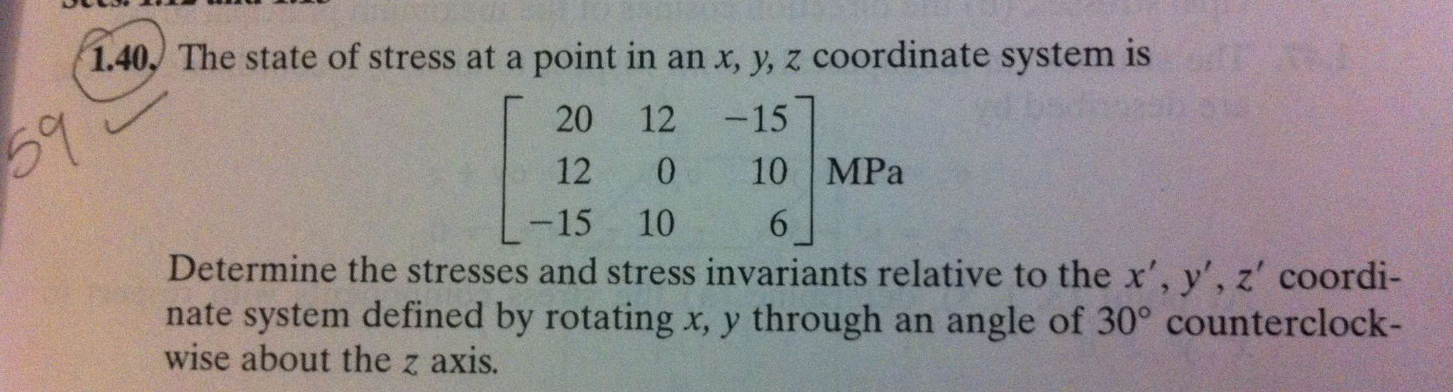 The state of stress at a point in an x, y, z coord