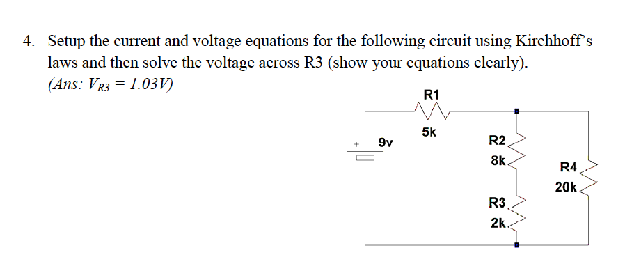 Setup the current and voltage equations for the fo