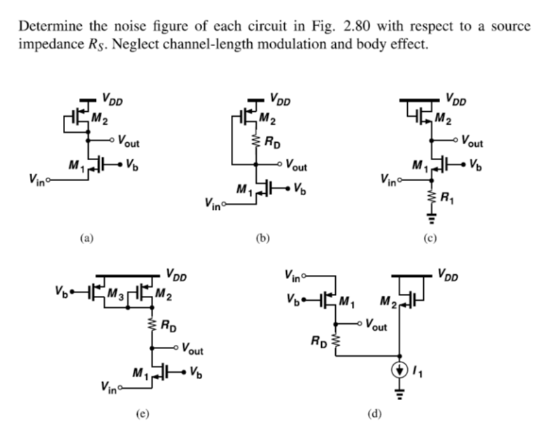 Determine the noise figure of each circuit in Fig.