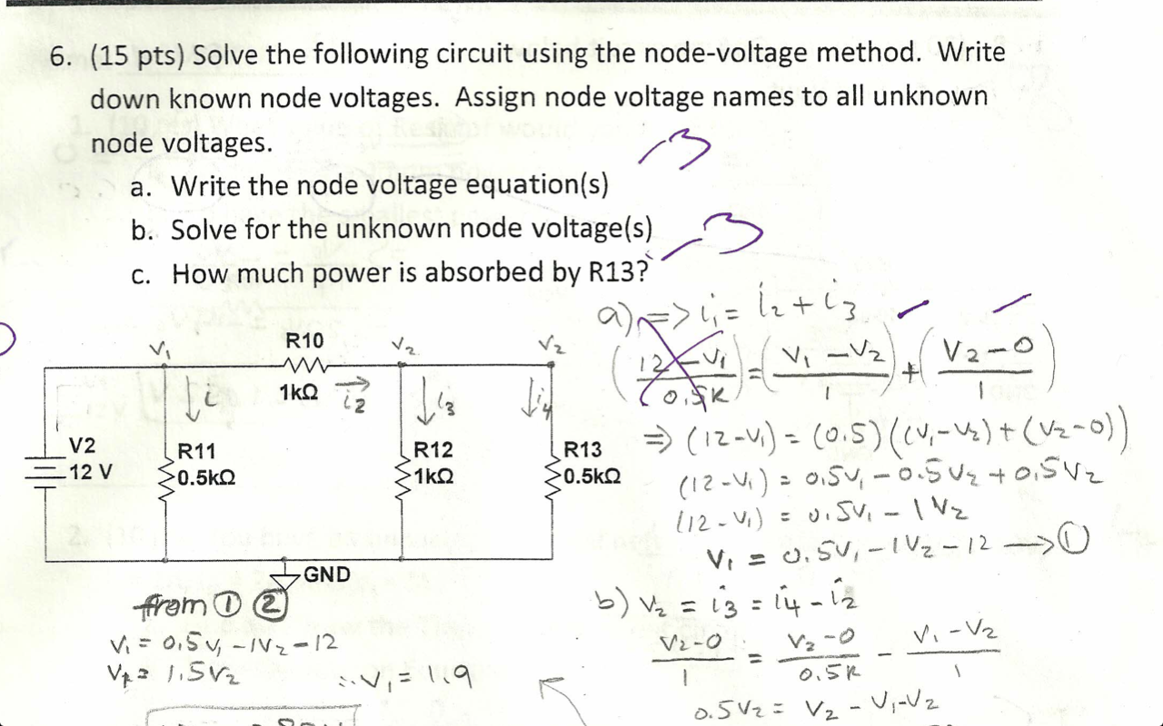 Solve the following circuit using the node-voltage