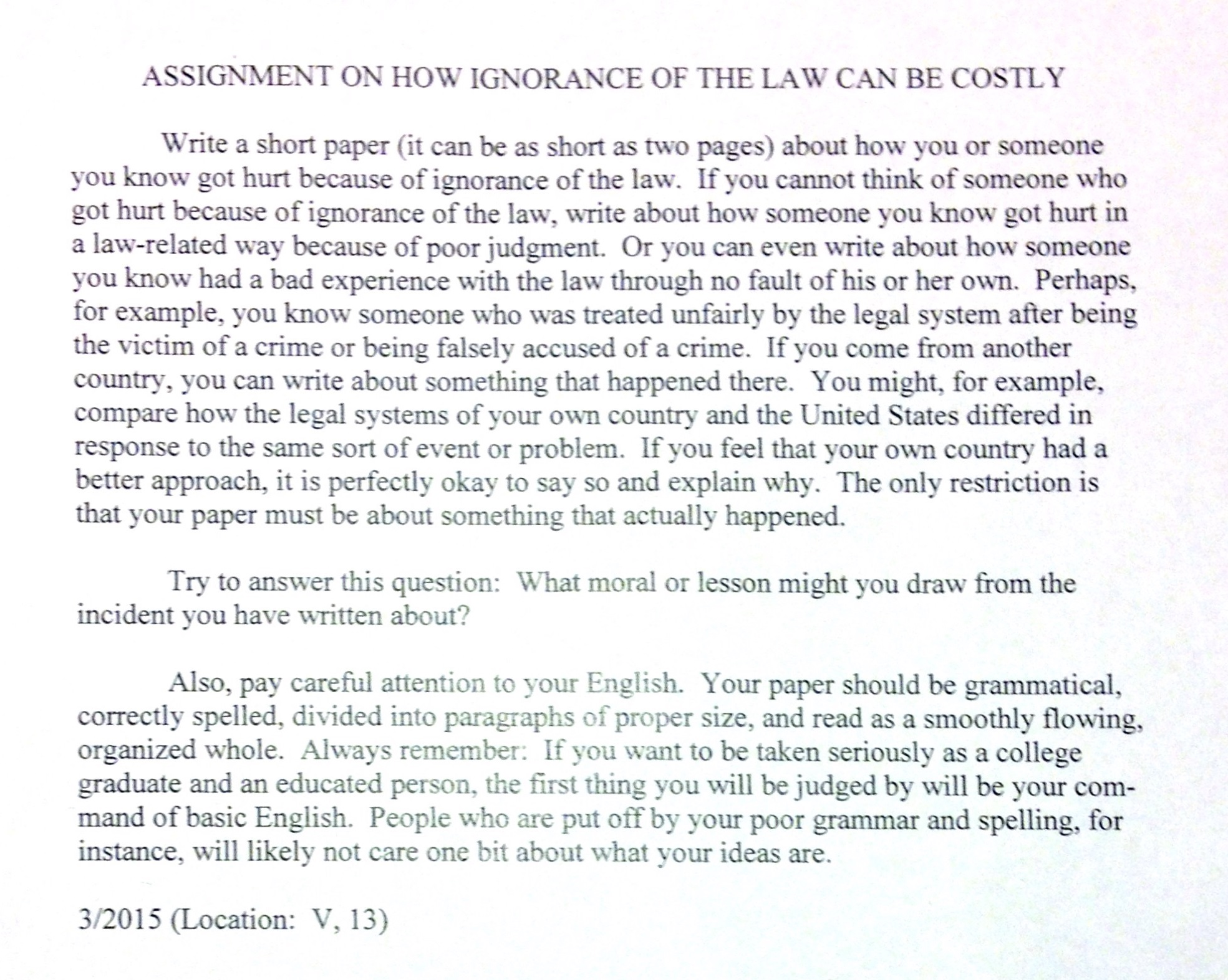 Assignment law