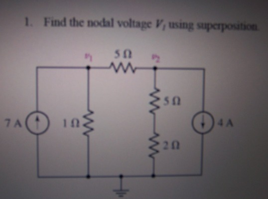 Find the nodal voltage V1 using superposition