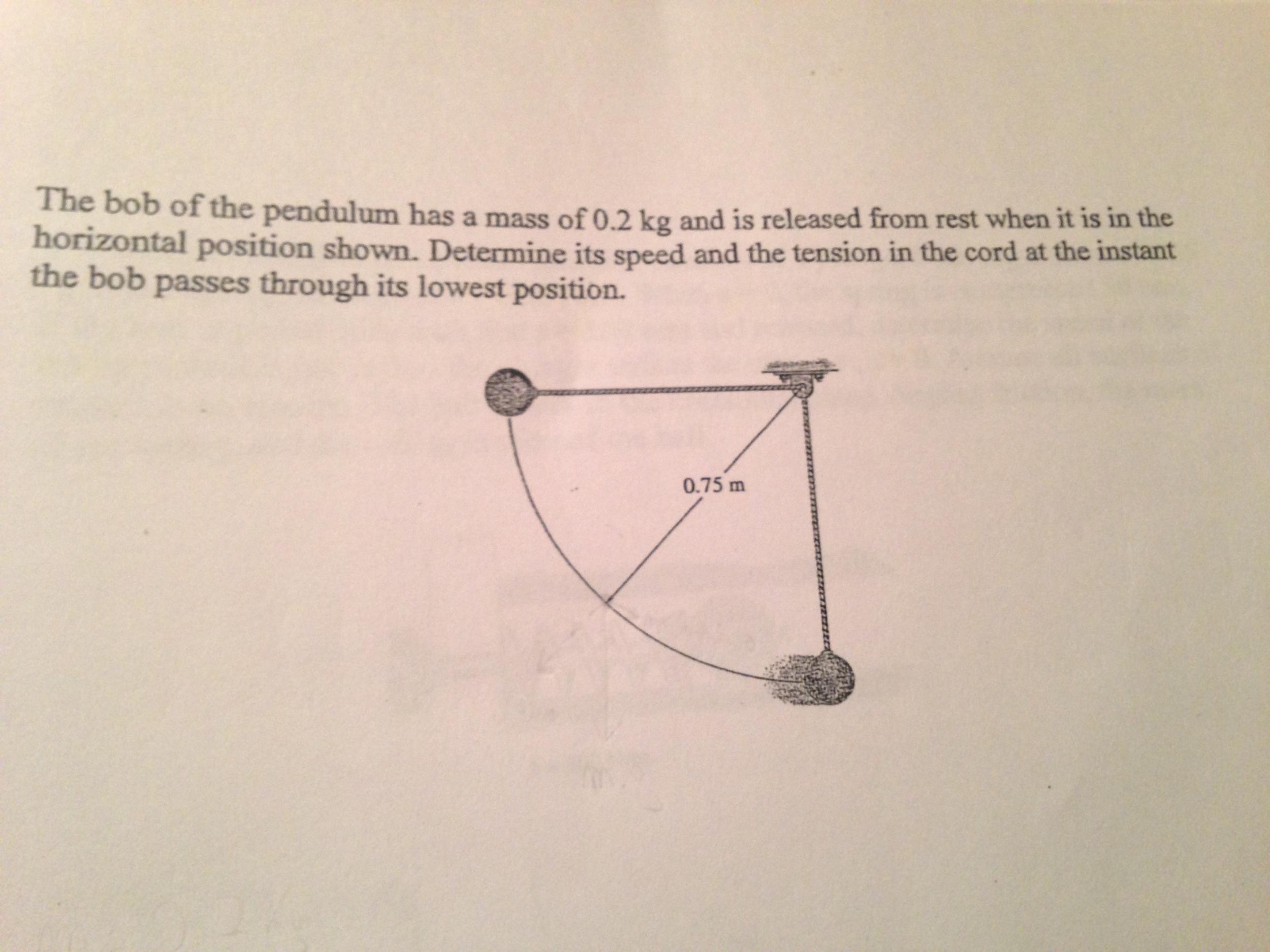 Swinging a the bob of pendulum speed Calculating