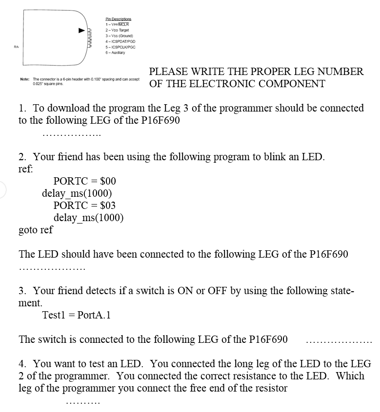 PLEASE WRITE THE PROPER LEG NUMBER OF THE ELECTRON ...