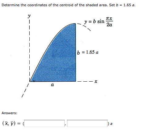 Determine the coordinates of the centroid of the s