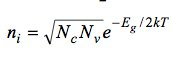 The maximum intrinsic carrier concentration in a s