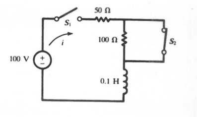 In the circuit switch S1 is moved from open to clo