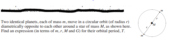 Two identical planets, each of mass m, move in a c