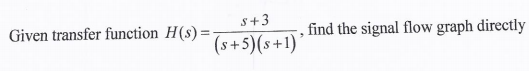 Given transfer function H(s) = s+3/(s+5)(s+1), fin