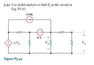Use nodal analysis to find V0 in the circuit in Fi