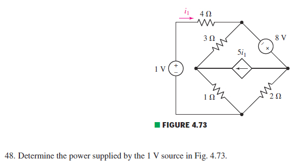 Determine the power supplied by the 1 V source in