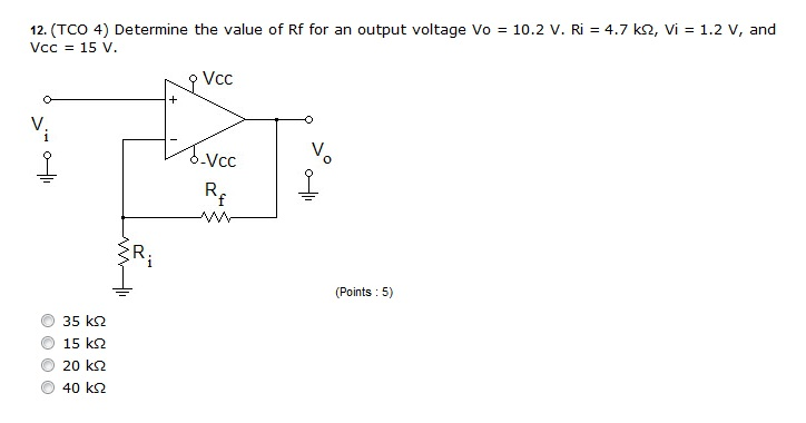 Determine the value of Rf for an output voltage Vo