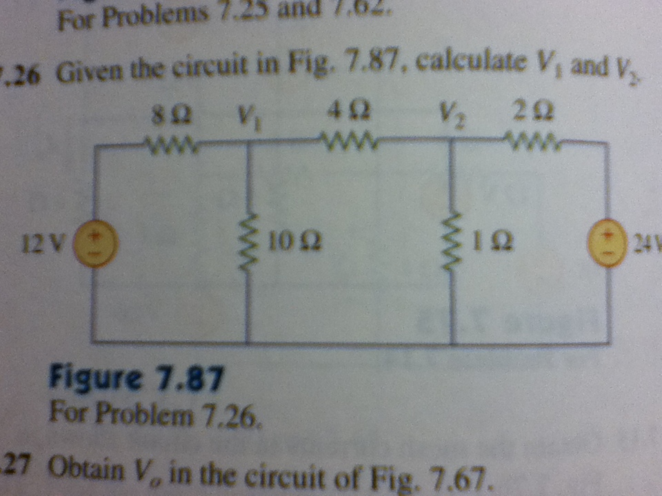 Given the circuits in Fig. 7.87, calculate V1 and