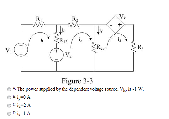 In the circuit of Figure 3-3, let V1=15 (V), V2=4