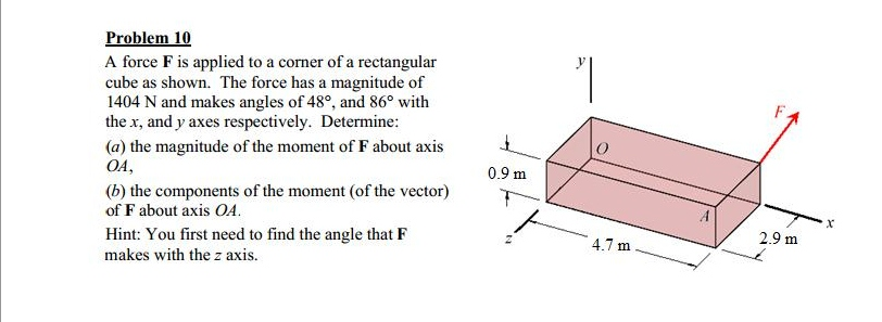 Problem 10 A force F is applied to a corner of a r