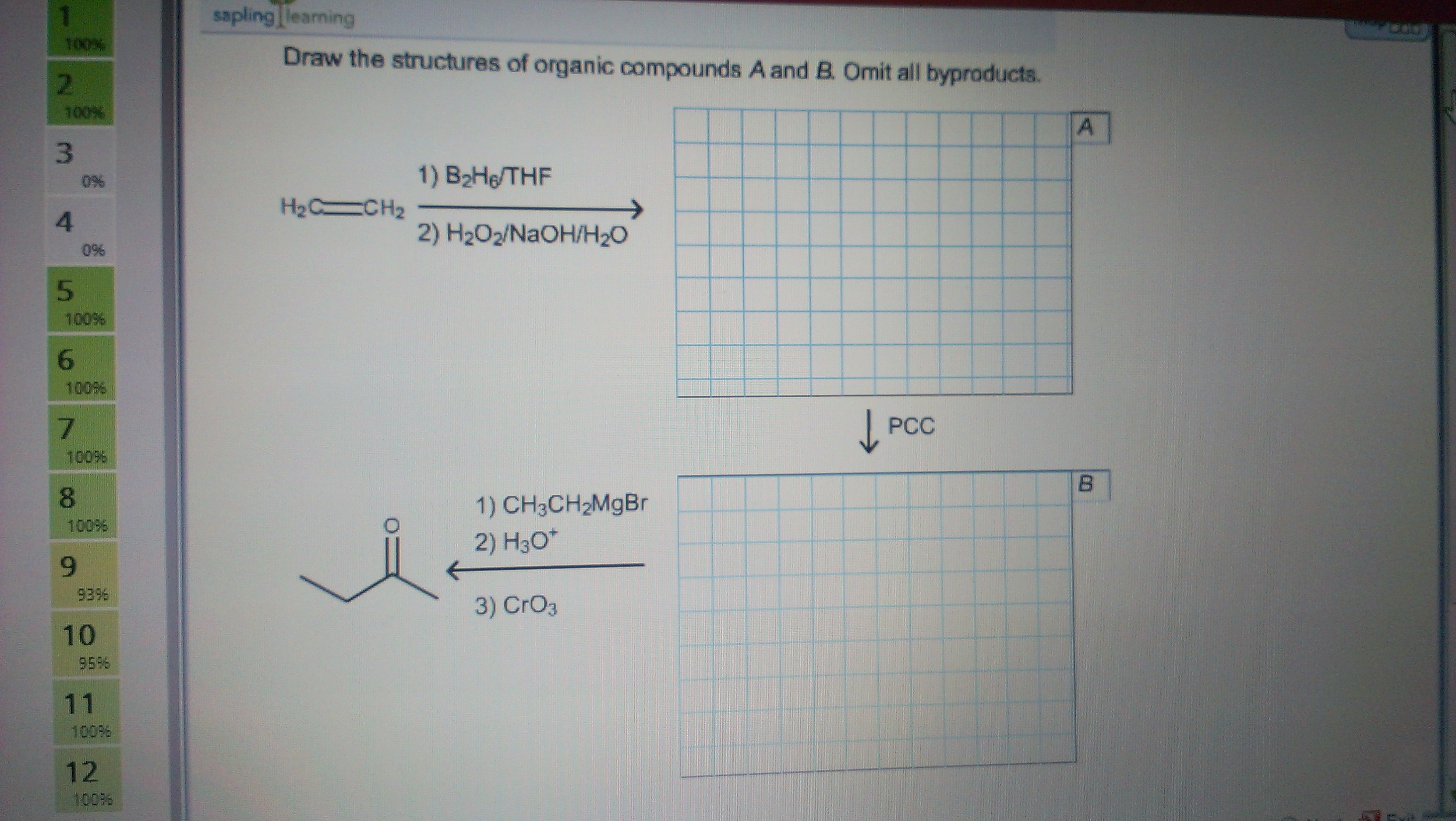 Draw the structures of organic compounds A and B.