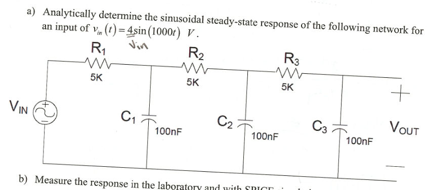 Analytically determine the sinusoidal steady-state