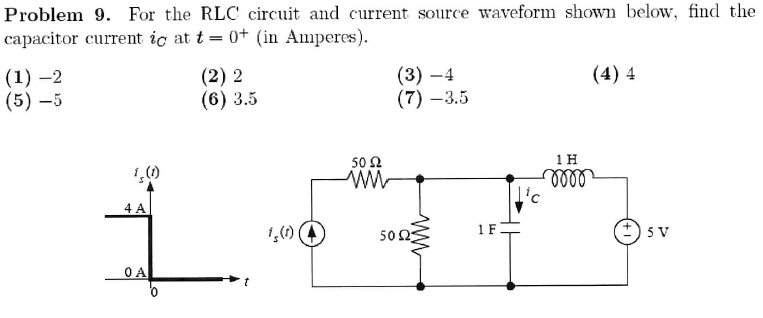 For the RLC circuit and current source waveform sh