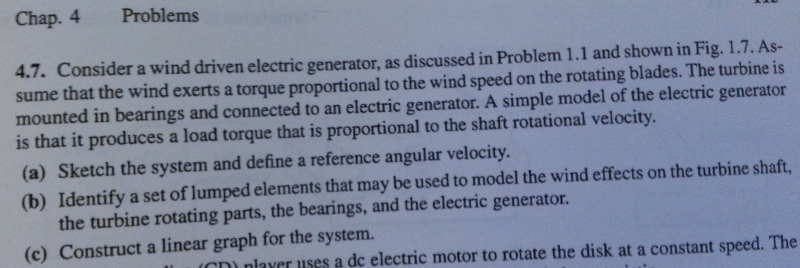 Consider a wind driven electric generator, as disc