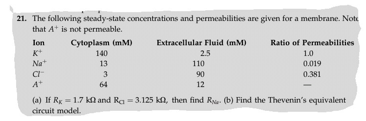 The following steady-state concentrations and perm