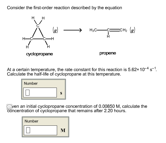 Consider the first-order reaction described by the