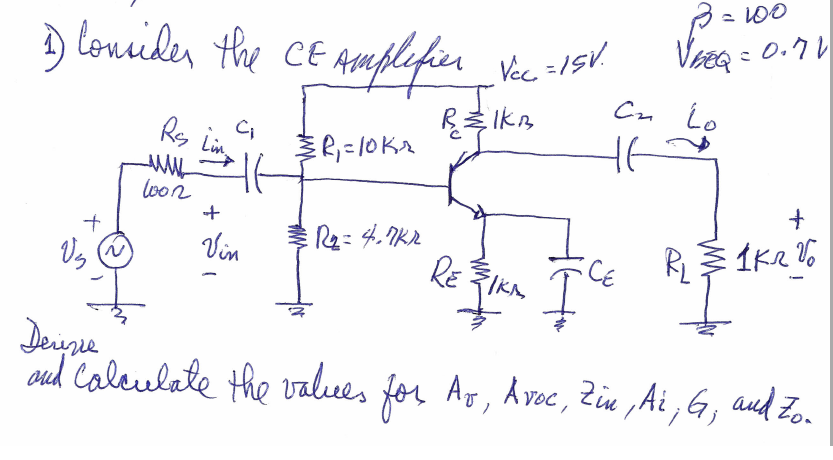 Consider the CE Amplifier VCC = 15V. Derive and C