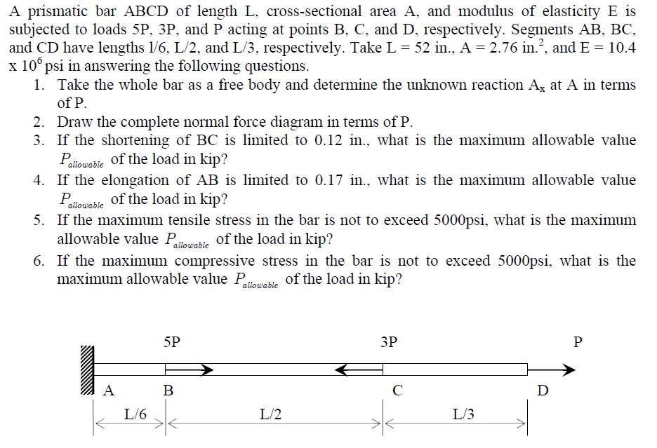 A prismatic bar ABCD of length L. cross-sectional