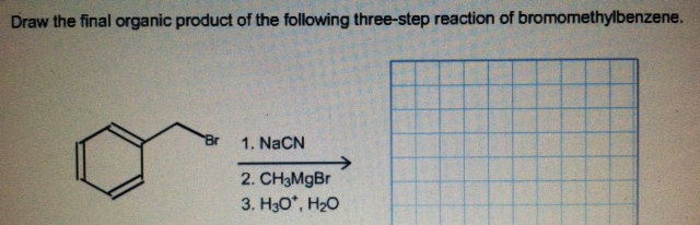 Draw the final organic product of the following th