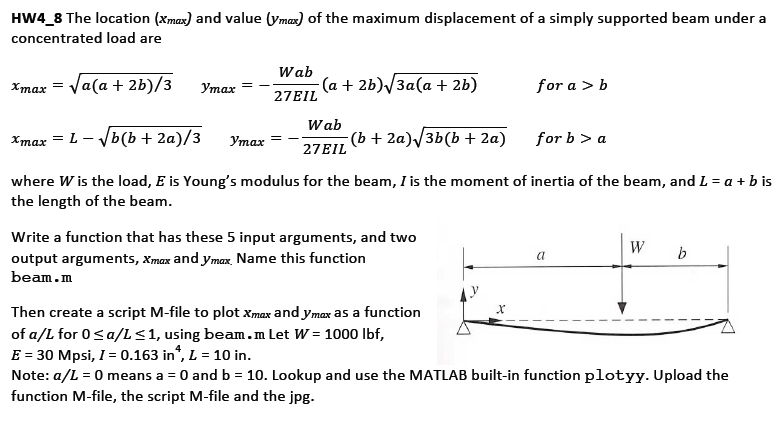 HW4_8 The location (xmax) and value (ymax) of the