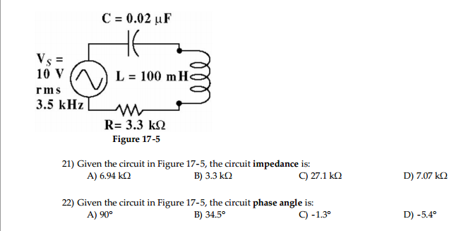 Figure 17-5 Given the circuit in Figure 17-5, t