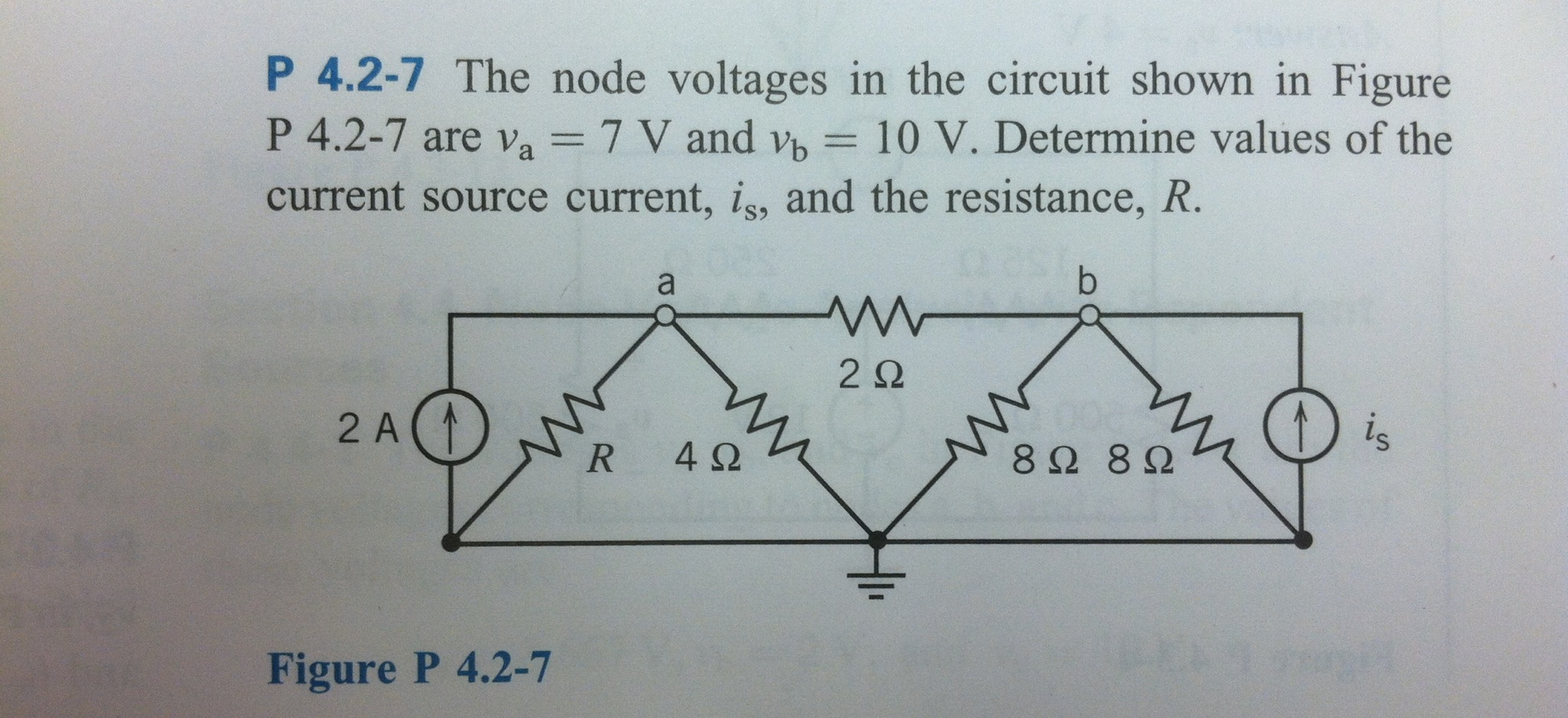 The node voltages in the circuit shown in are va =