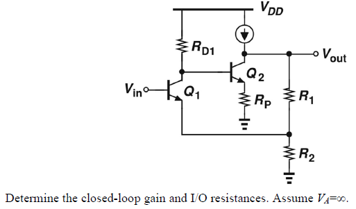 Determine the closed-loop gain and I/O resistances
