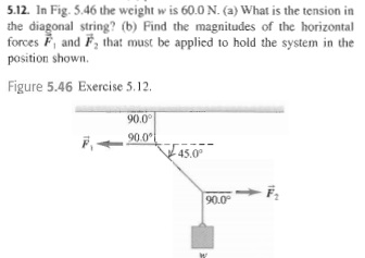 In Fig. 5.46 the weight W is 60.0N. What is the t