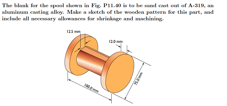 The blank for the spool shown in Fig. P ll.40 is t