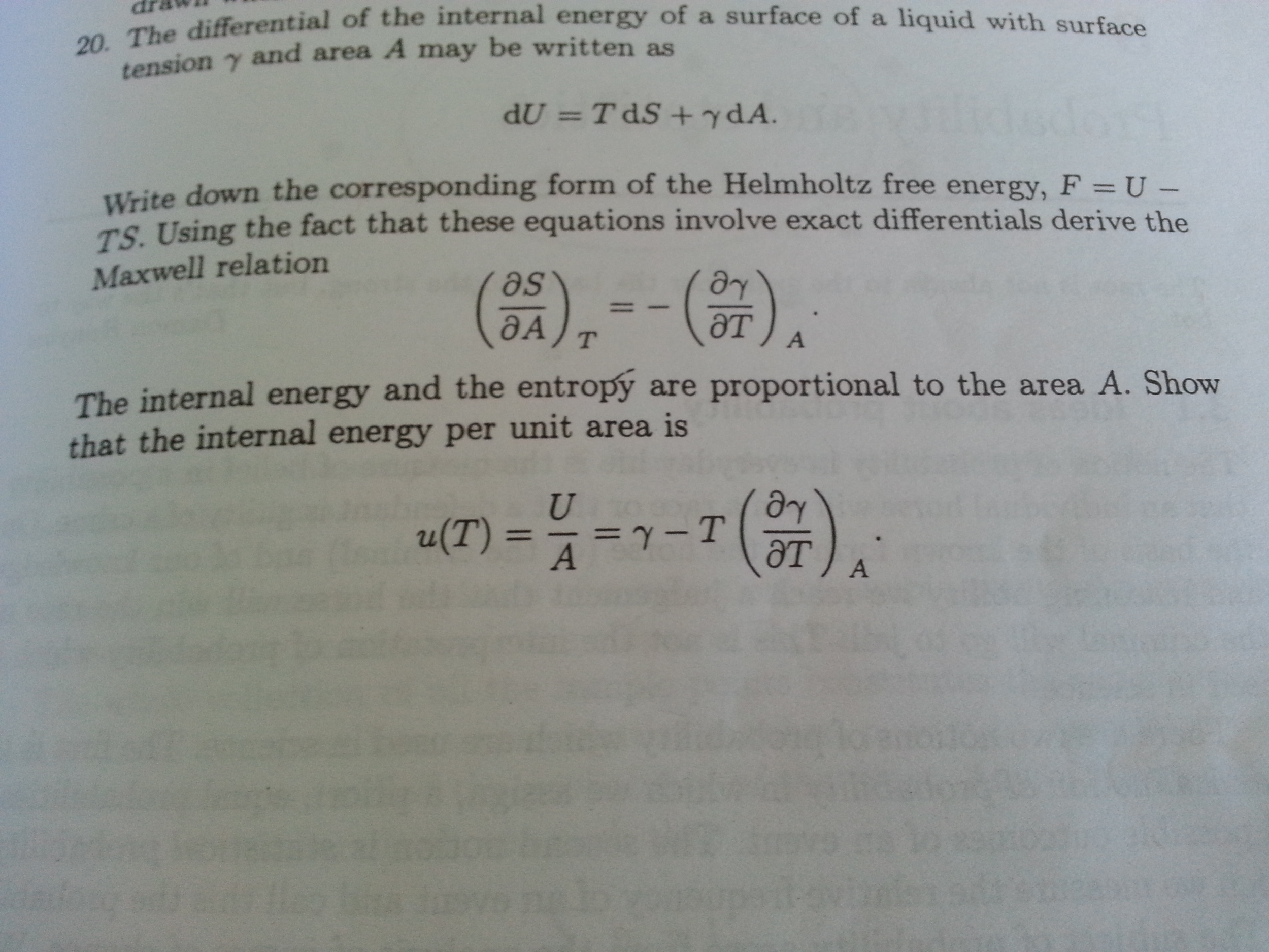 The differential of the internal energy of a surfa