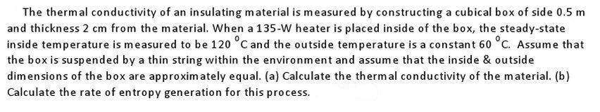 The thermal conductivity of an insulating material